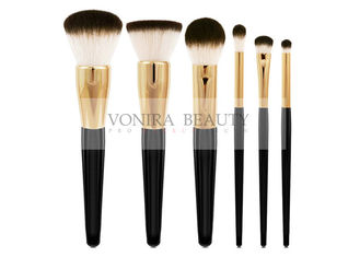 Classic Goat Hair Makeup Brush Set Three Tone Natural Hair Makeup Brushes With Gold Ferrules